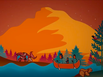 Ojibway artwork with animals and humans in a canoe surrounded by a forest, mountains and water