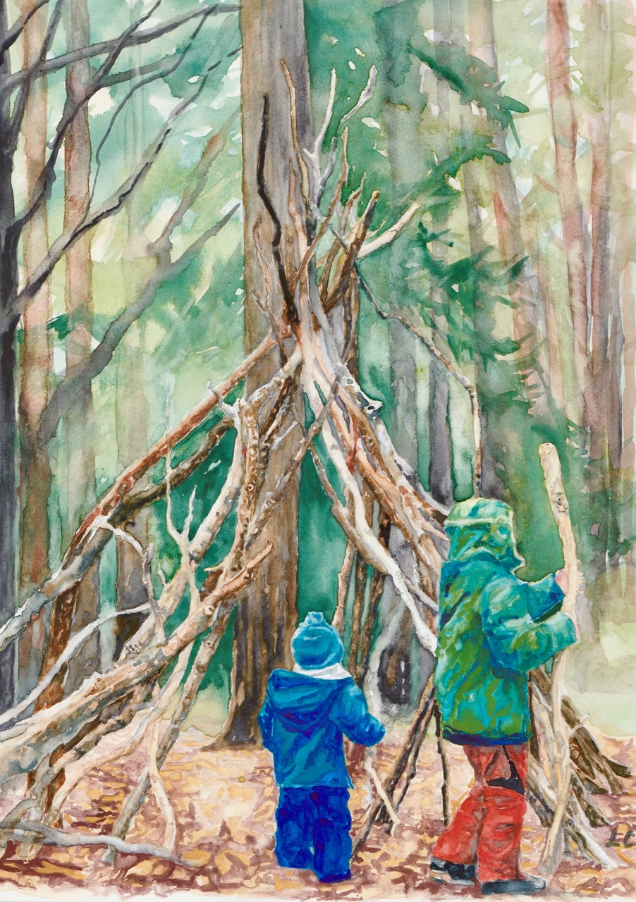 Watercolour illustration of kids exploring the woods