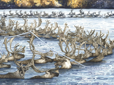 Painting by Jill Pelto of caribou crossing a river