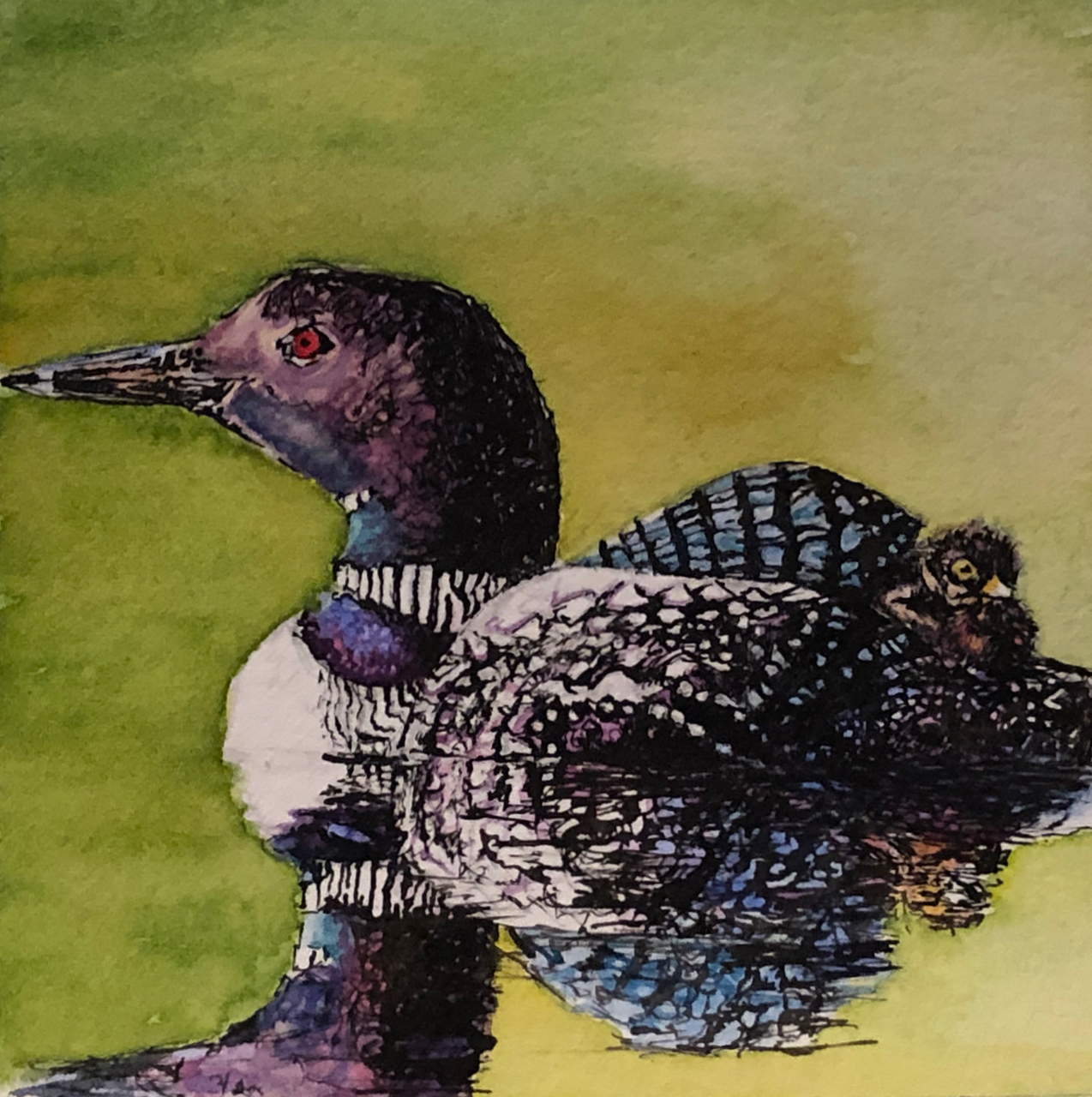 Okanagan Loon Mother and Baby painting