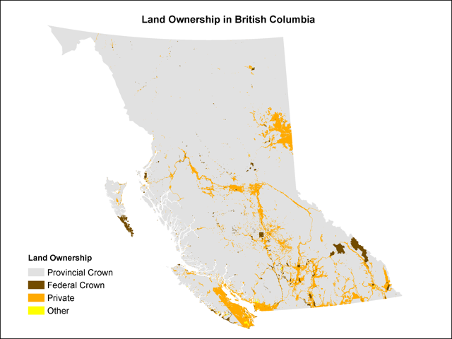 Figure 2: SARA applies automatically only on federal crown land (dark brown), primarily in the National Parks of British Columbia.