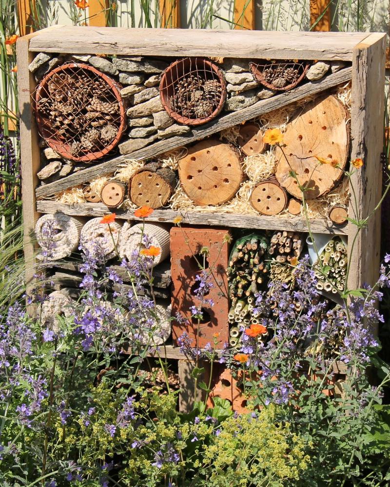 Bug hotel with pollinator garden