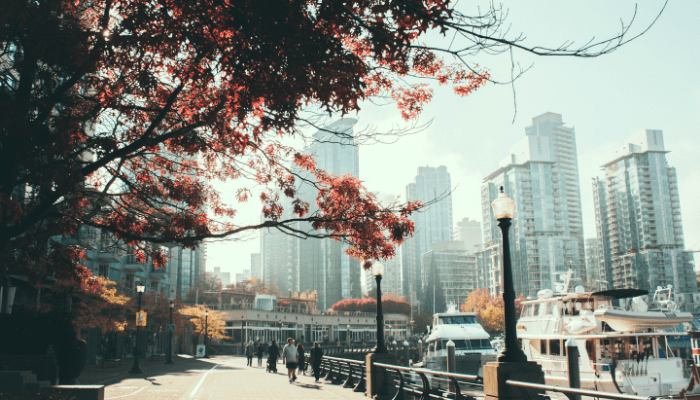 Vancouver cityscape with trees, people and high rise buildings