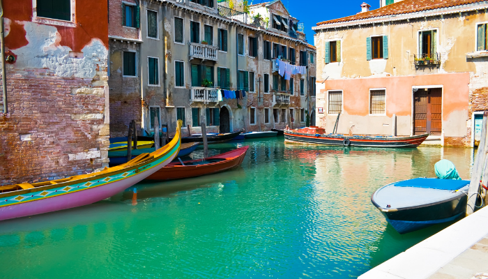 Venice canal with boats