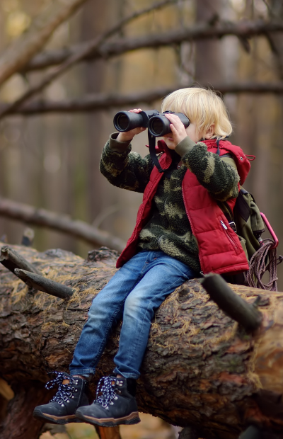 Child using binoculars in forest