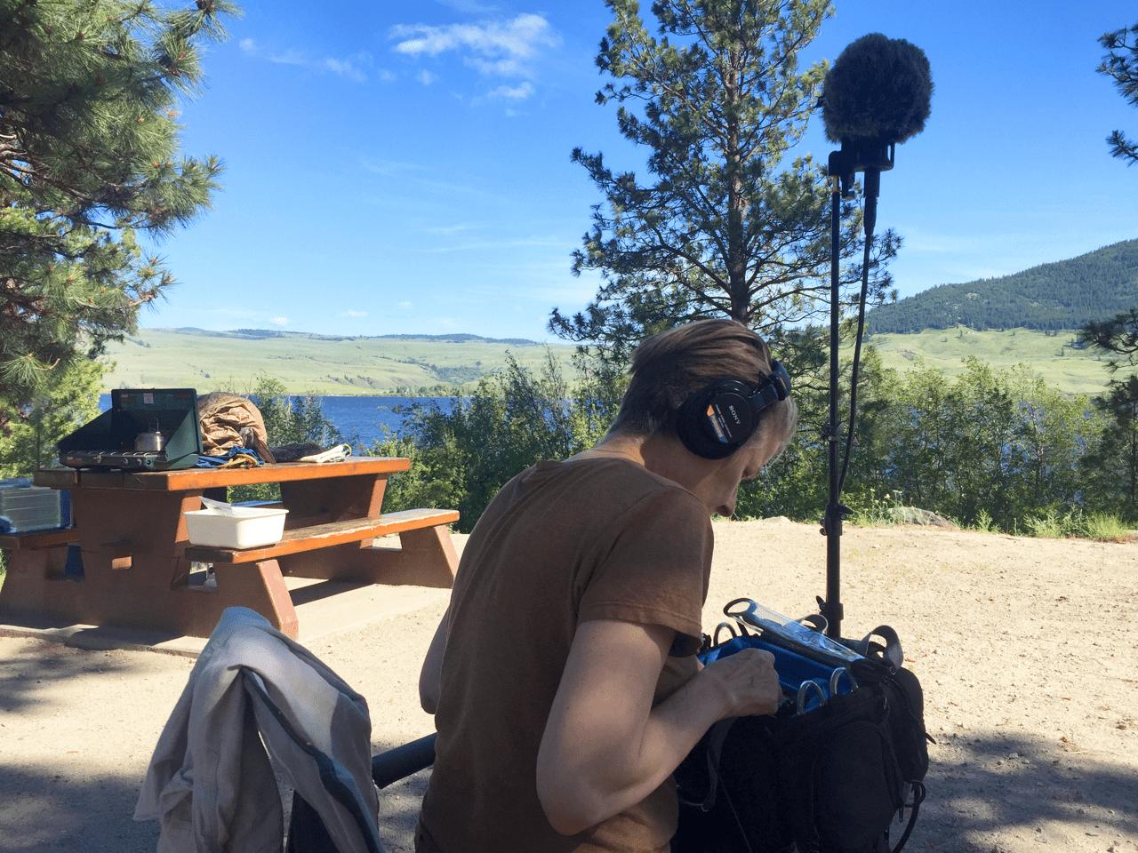 Julie Andreyev recording in nature