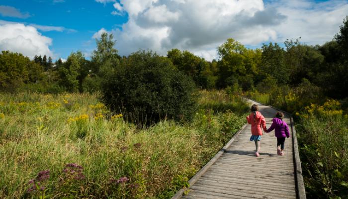 Two children walking on boardwalk in nature