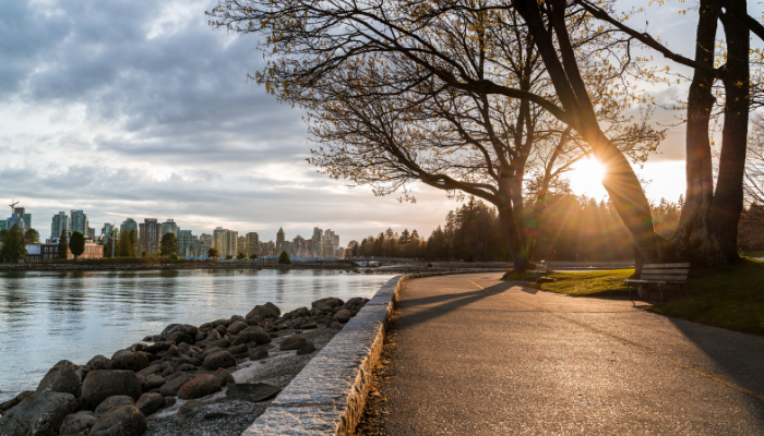 Vancouver seawall at sunset