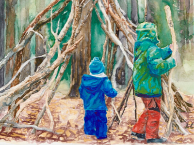Painting of children playing in the woods by Leanne Cadden